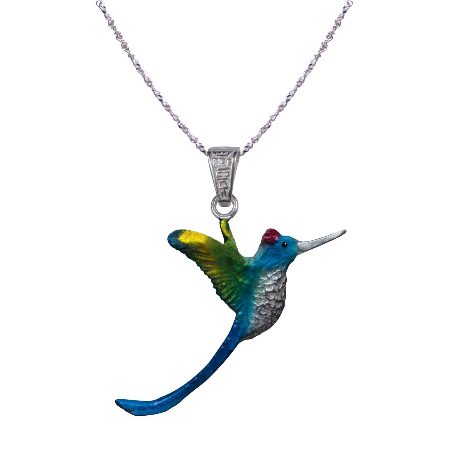 colibrí cola larga azul med dije